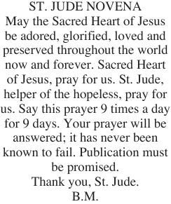 St jude novena announcements thechronicle news jude novena thecheapjerseys Images