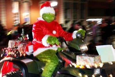 Mr. Grinch is seen breezing through