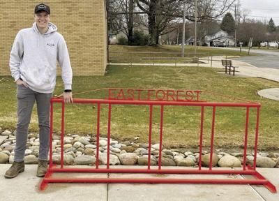 East Forest student creates new bike rack