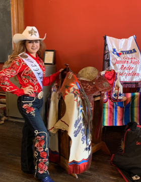 Dallee Mae Robison, a Comanche County resident, won the Texas Junior High Rodeo Princess contest this past weekend in Gonzales, Texas. She competed in horsemanship, modeling, speech, test, impromptu and interview.  She won horsemanship, interview and test.  She is a member of TJHRA Region X.  She is an 8th grader at Henderson Junior High in Stephenville