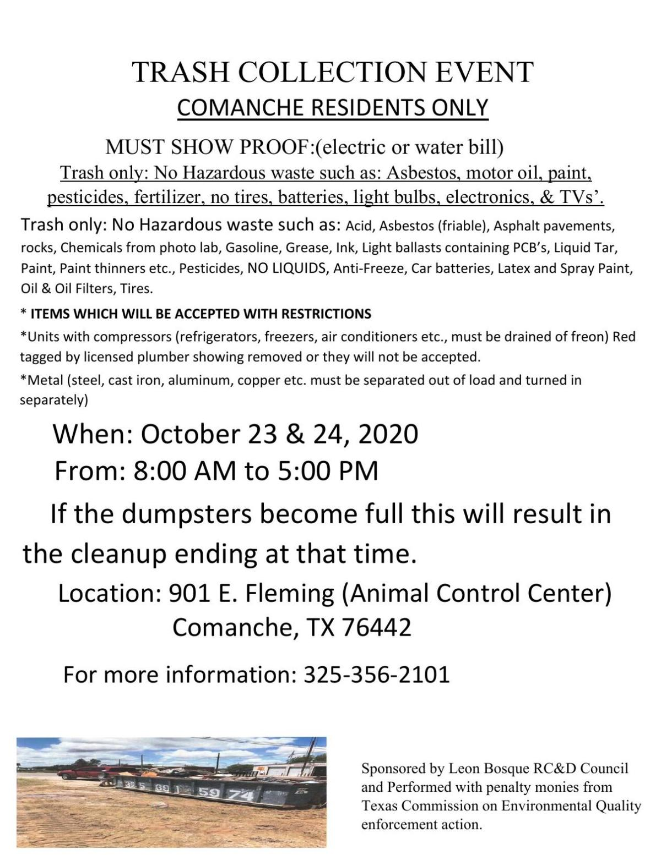 City of Comanche Trash Drop-Off