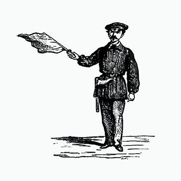Vintage Line Drawing Policeman