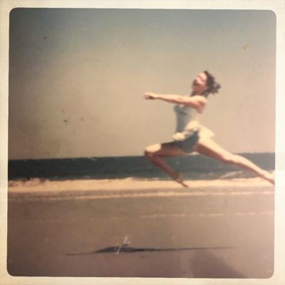 vintage photo woman on beach