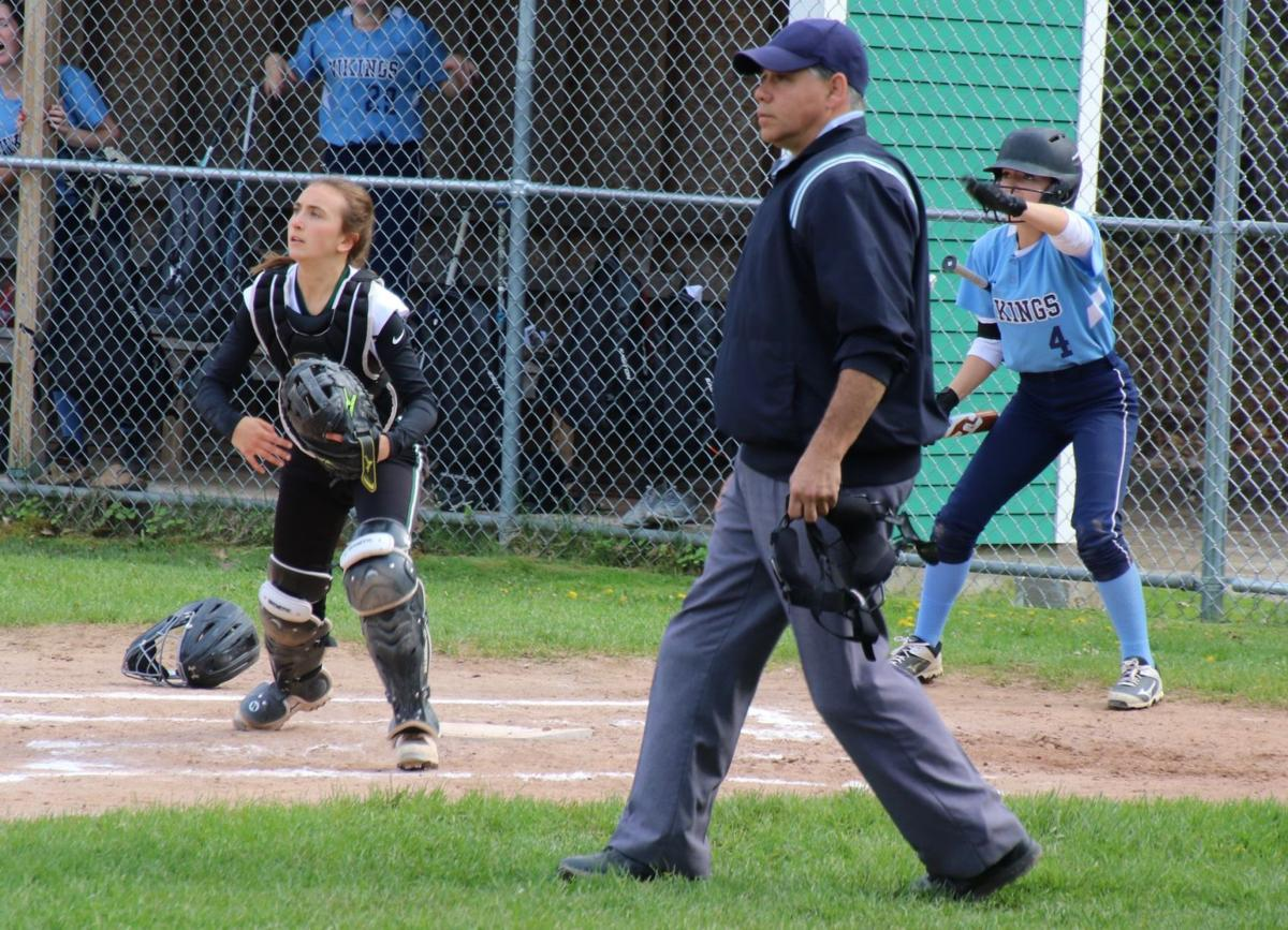 ME Hornet Claire Gendron behind the plate against the Rockport Vikings in 2018
