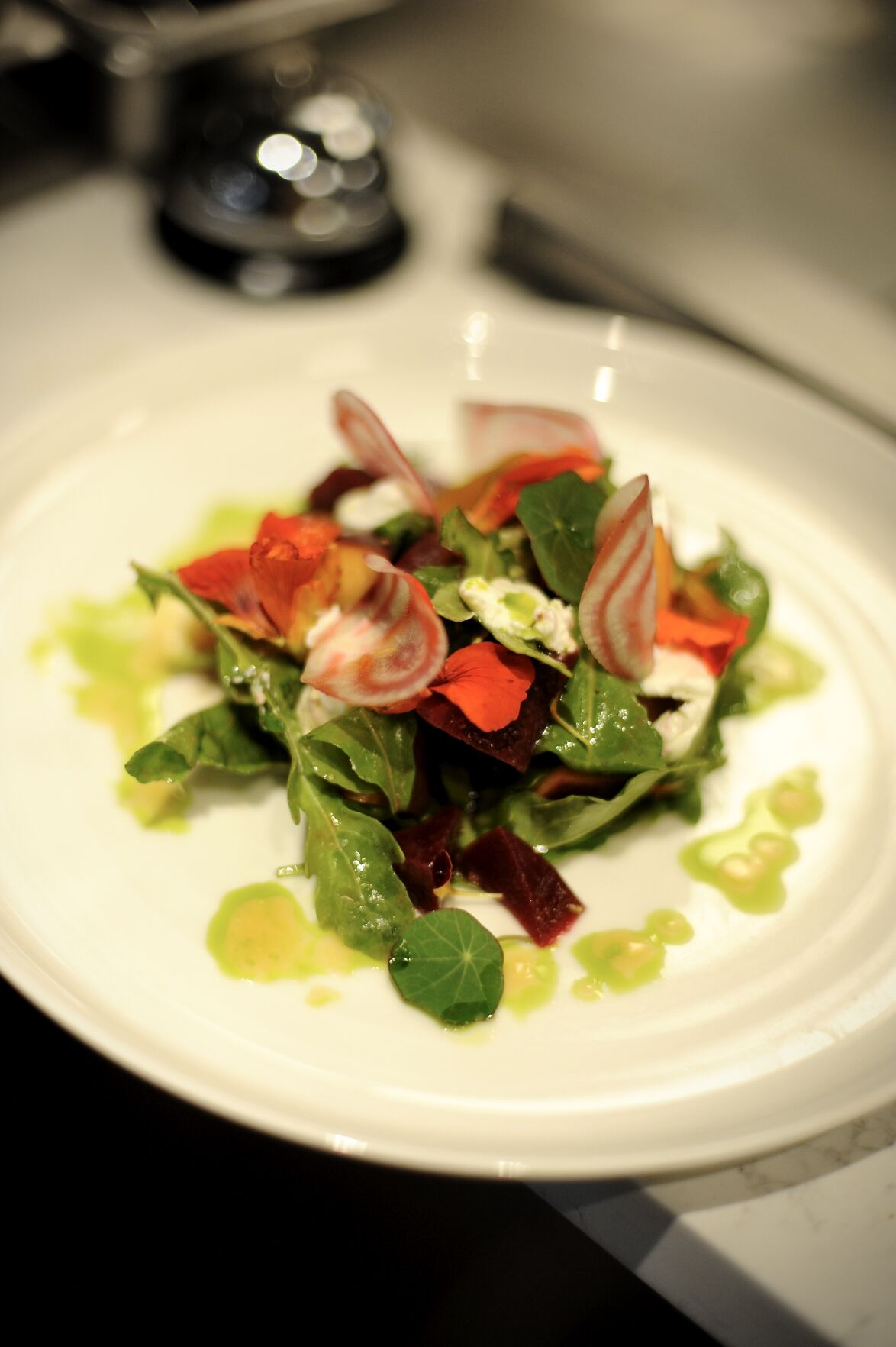 FIRST LIGHT BEET SALAD WITH PEACH, ARUGULA, BASIL, and VALLEY VIEW CHEVRÈ