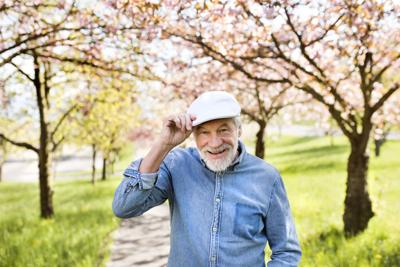Senior,Man,In,Love,Outside,In,Spring,Nature.