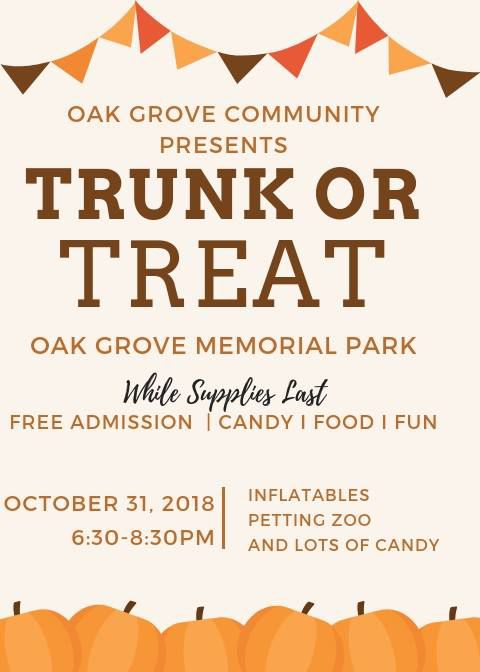 Oak Grove Alabama Memorial Park Halloween 2020 Oak Grove Community Trunk Or Treat   Wednesday, October 31   6:30