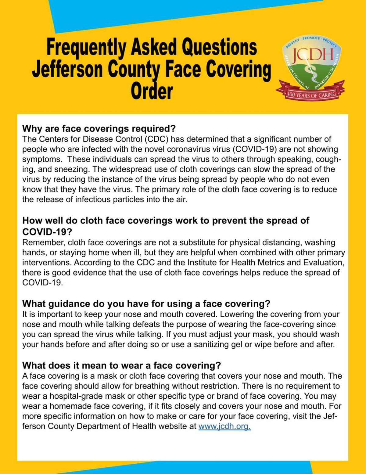 Frequenty Asked Questions Jefferson County, Alabama Face Covering Order.pdf