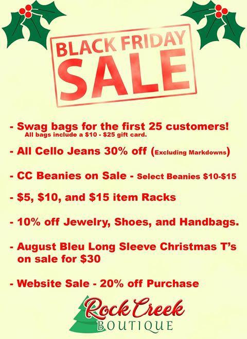 Rock Creek Boutique Black Friday Sale - Friday, November 29