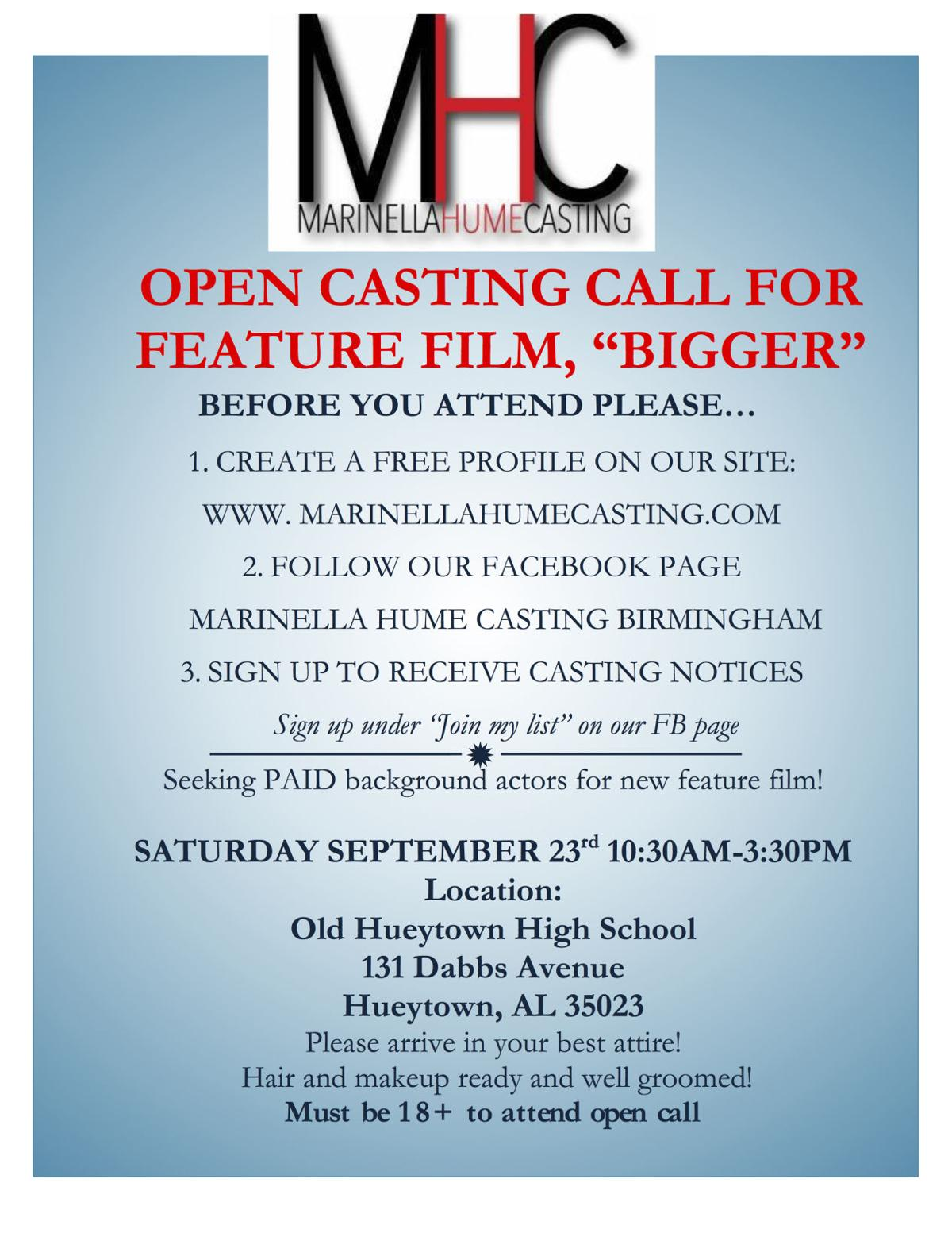 Open Casting Call For Paid Background Actors Feature Film