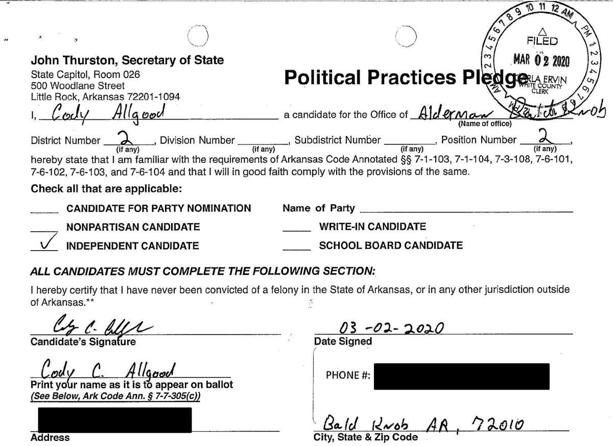 Cody Allgood's filing form