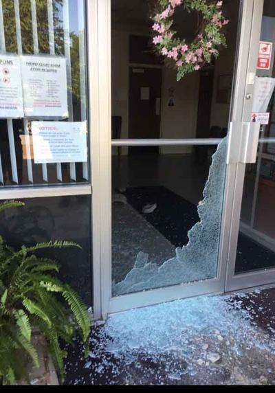 Smashed glass at Bald Knob City Hall