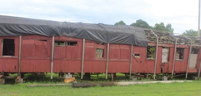 Wooden rail car in Bald Knob