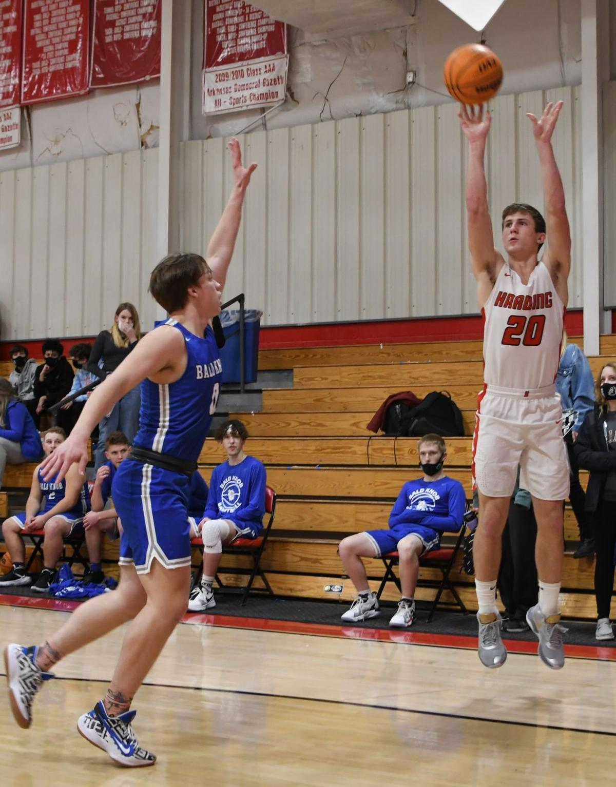 Harding Academy's Ty Dugger shoots a three