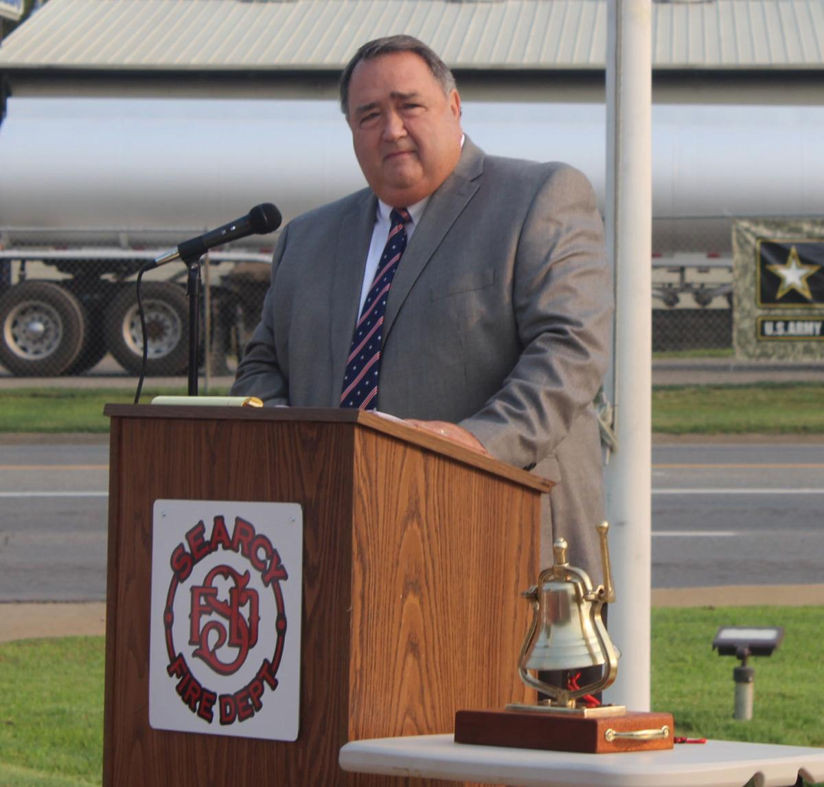 Mayor Kyle Osborne speaks on 20th anniversary of 9/11 at Central Fire Station