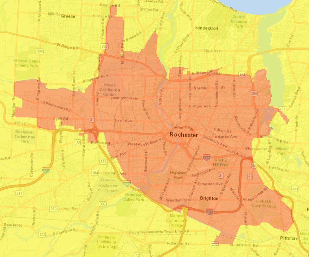 Map of Monroe County Orange Zone