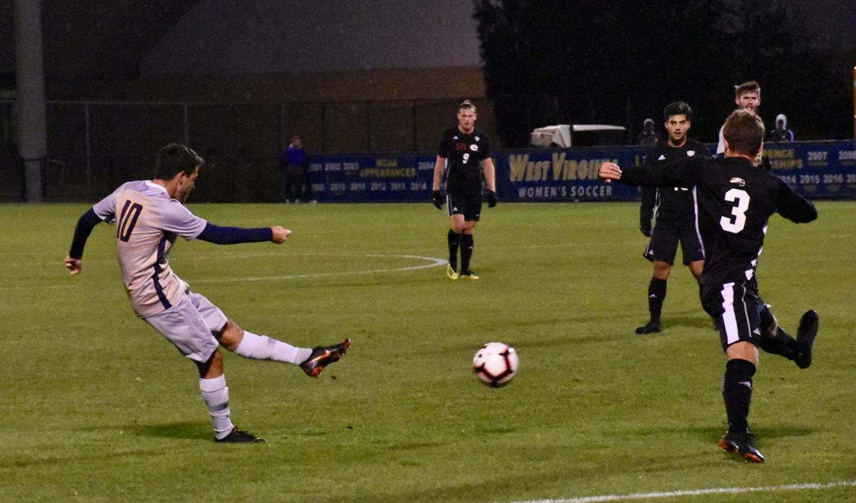 Andres Muriel Albino scoring one of WVU's five goals against SIU Edwardsville.