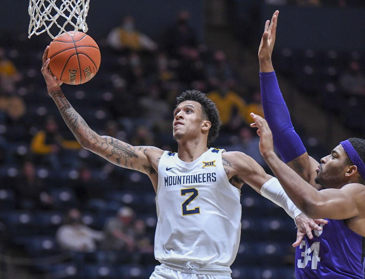 WVU forward Jalen Bridges scored a career-high 22 points along with 12 rebounds to earn his first career double-double against TCU on March 4, 2021.