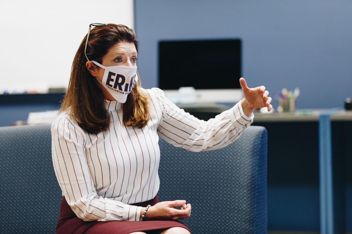 West Virginia Libertarian gubernatorial candidate Erika Kolenich speaks in the Daily Athenaeum newsroom on August 21, 2020.