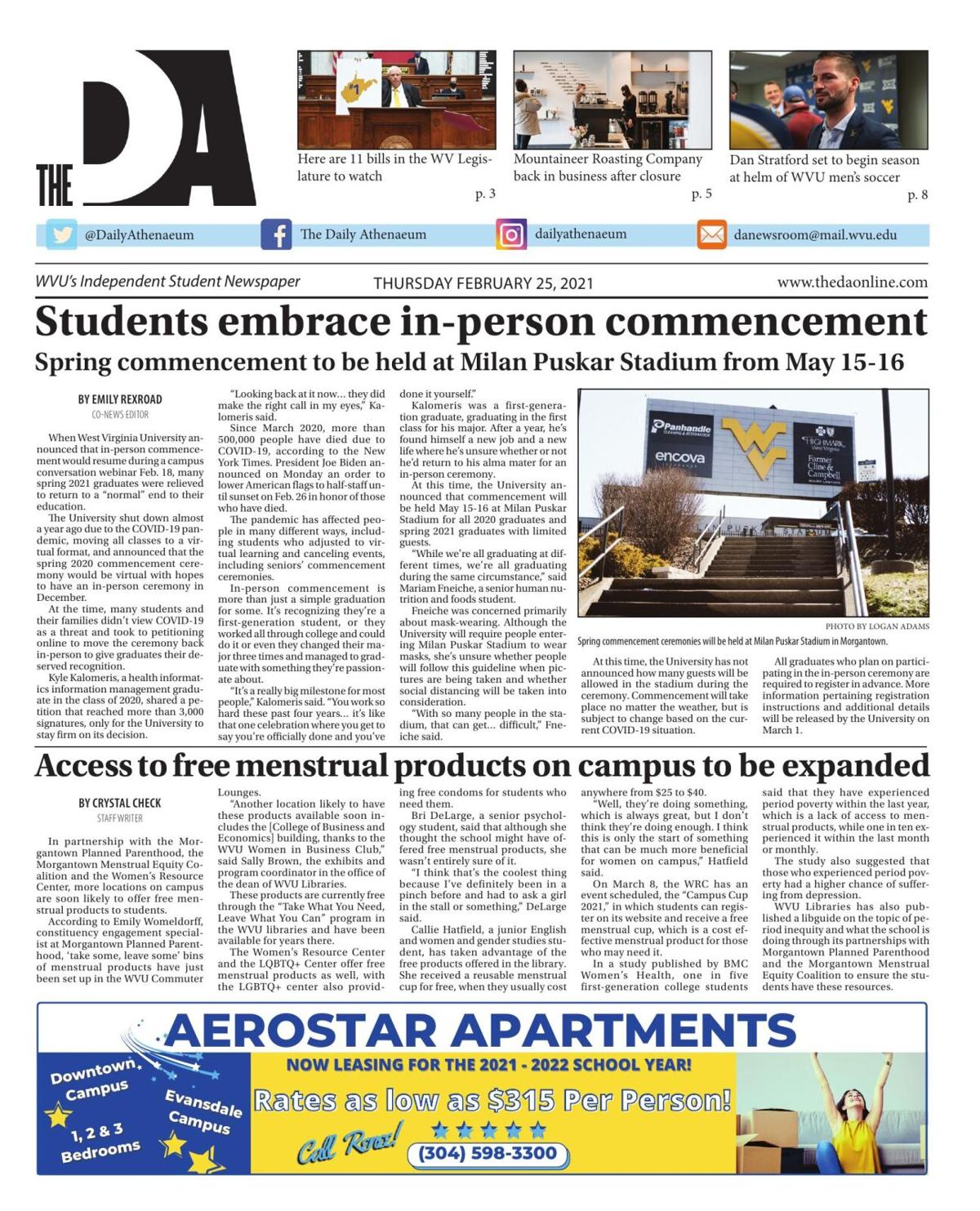The Daily Athenaeum's edition on February 25, 2021.