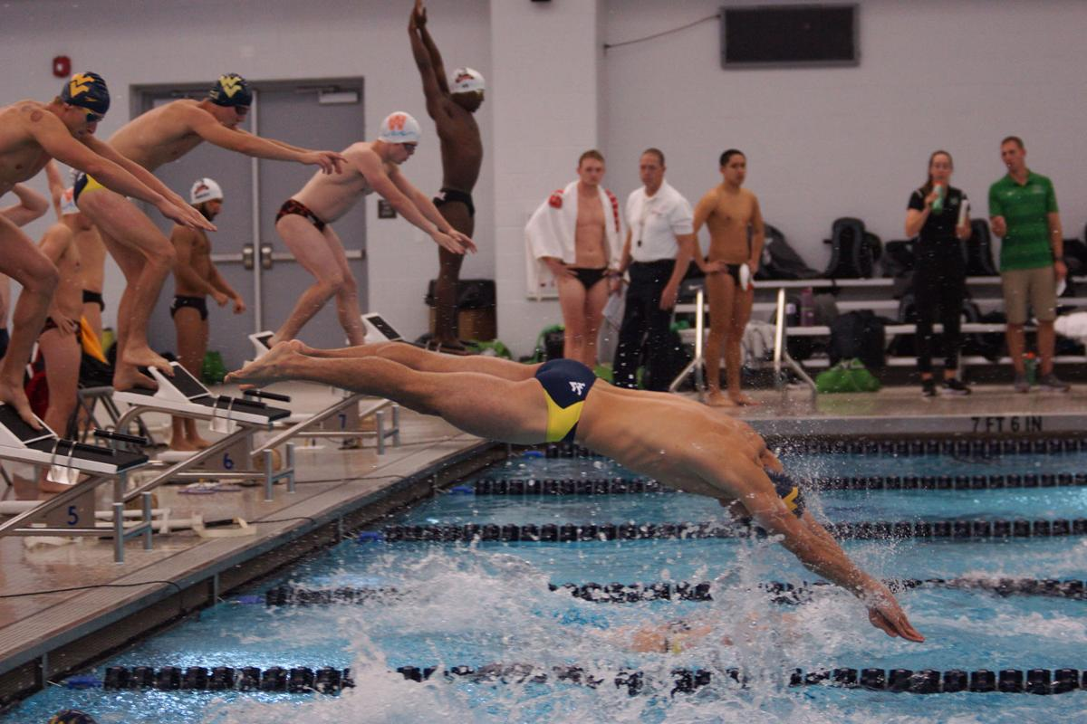 A WVU swimmer dives to start the next leg of the relay.