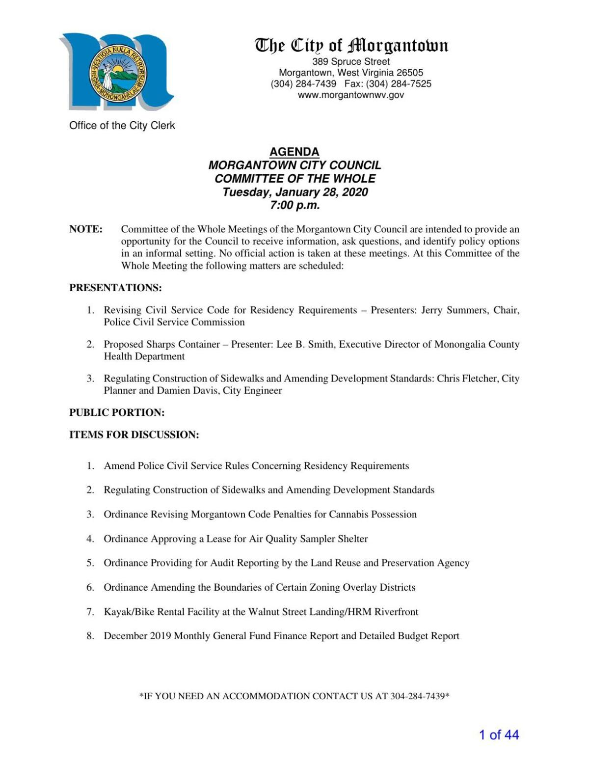 Jan. 28 Committee of the Whole meeting agenda packet