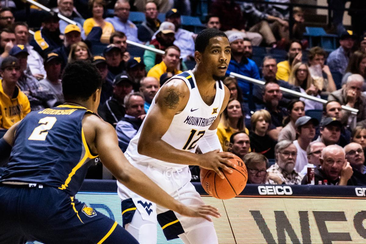 Taz Sherman gets ready to run a play against Northern Colorado on Nov. 18, 2019 at the WVU Coliseum.
