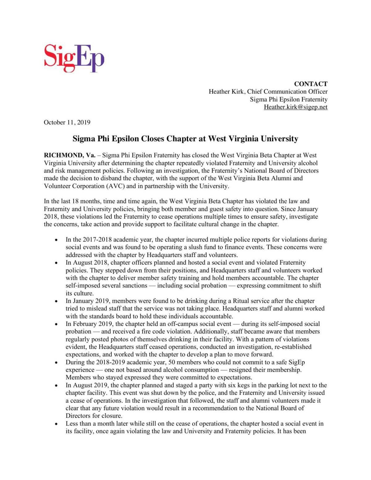 SigEp Oct. 15 news release