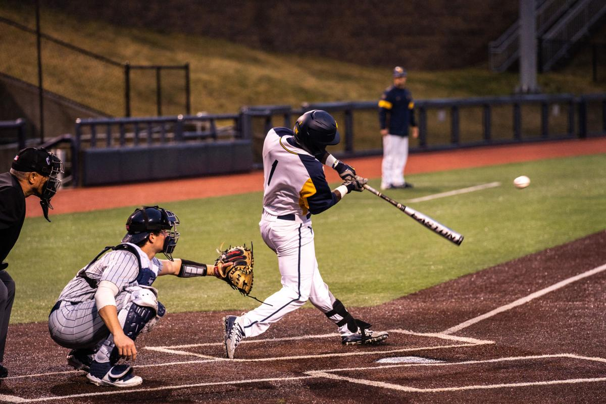 WVU's Tyler Doanes gets a hit during a game against Canisius on Feb. 18, 2020, at Monongalia County Ballpark.