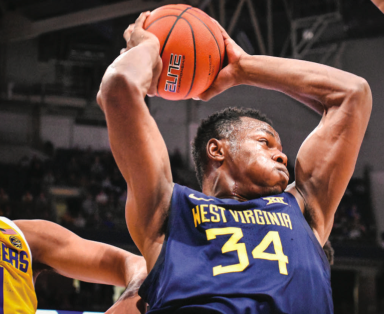 Friday night: Oscar Tshiebwe led the Mountaineers to a win over Pitt with 20 points and 17 rebounds.