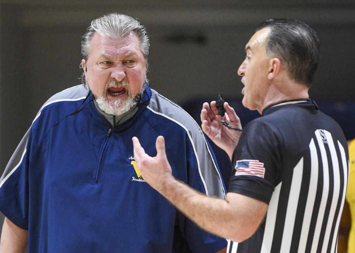 West Virginia head coach Bob Huggins arguing with an official during loss to Baylor at the WVU Coliseum in Morgantown, W.Va., on March 2, 2021.