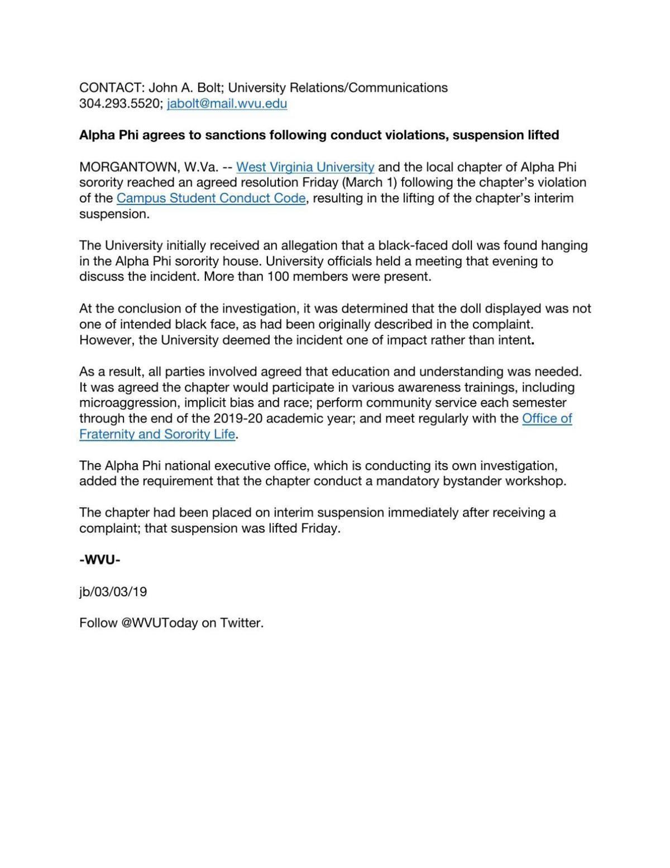 WVU news release