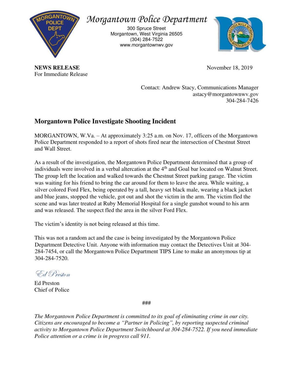 Morgantown news release Nov. 18