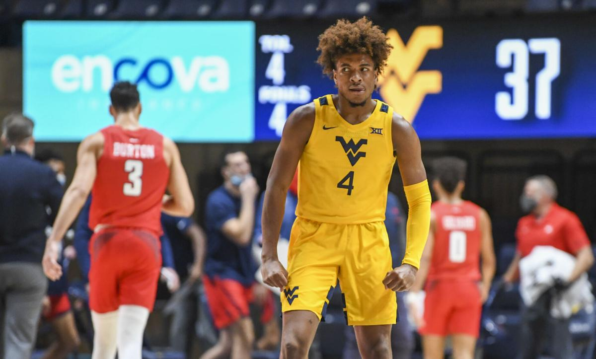 WVU guard Miles McBride (4) with a look of intensity during West Virginia's game against Richmond on Dec. 13, 2020.