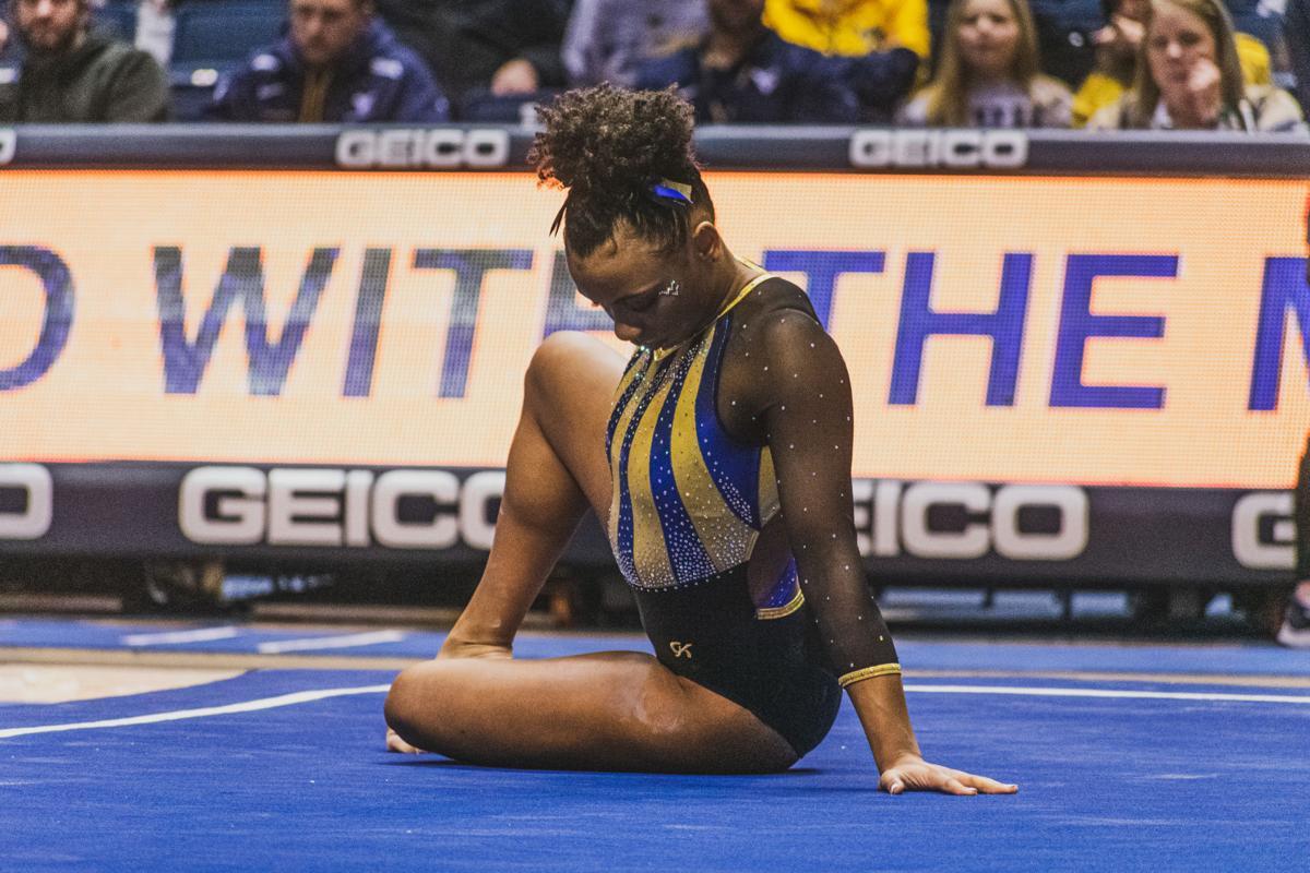 Jan. 26, 2020. Sophomore Kendra Combs performs her floor routine.