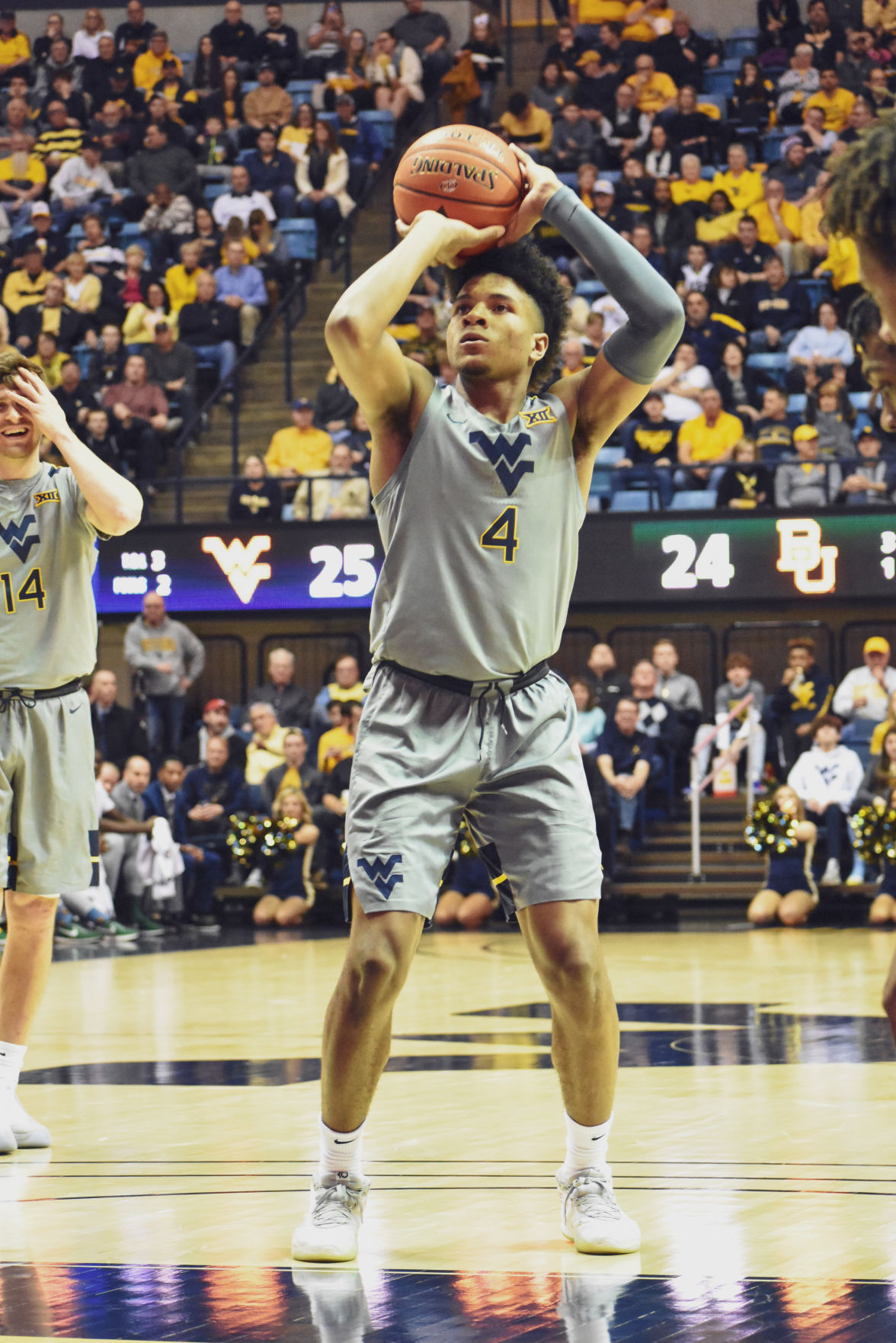 Mar. 7, 2020 - Freshman Guard Miles McBride takes a free throw shot against Baylor at the Coliseum.