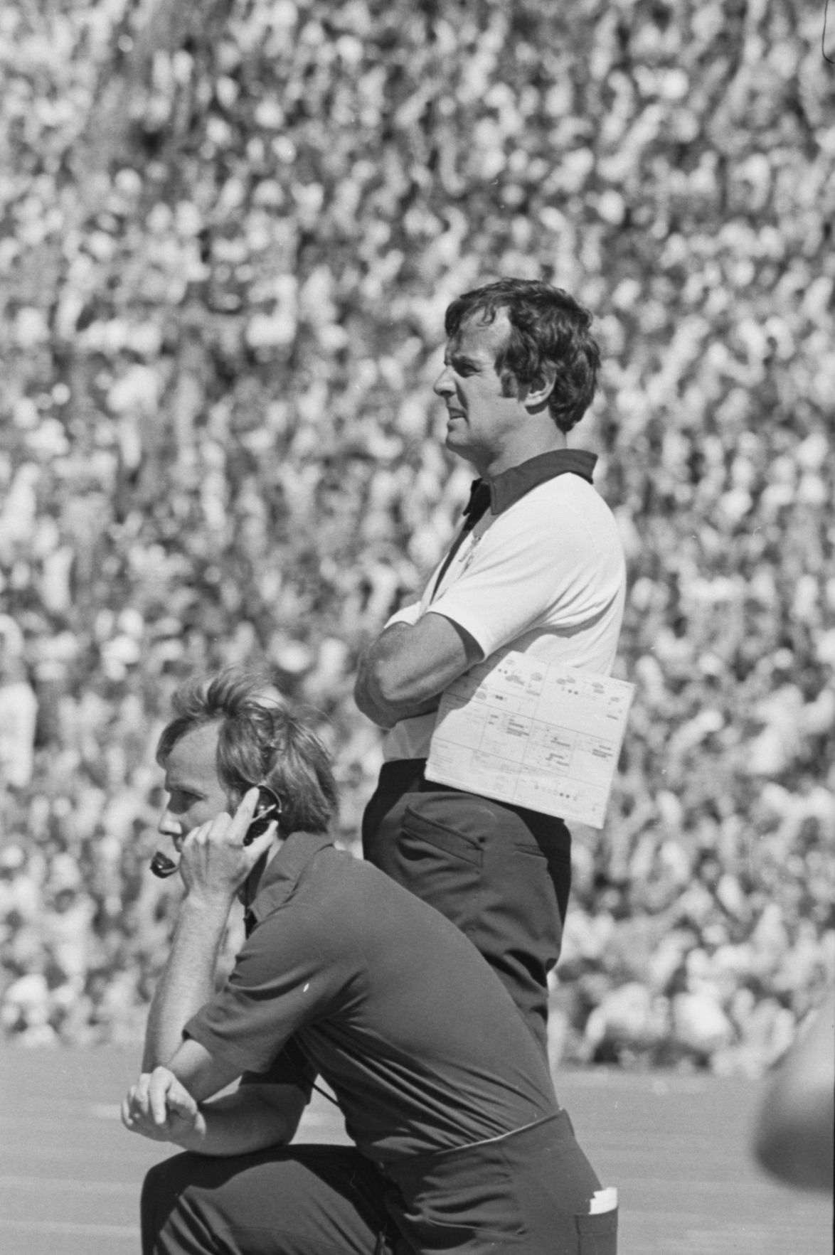Mountaineer coach Frank Cignetti looks onto the field during a game in the 1970s.