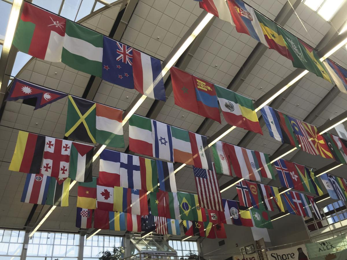flags hanging in the Mountainlair