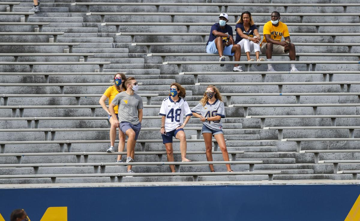 Families of West Virginia Mountaineers players are seen in the stands prior to their game against the Eastern Kentucky.
