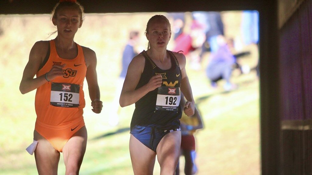 West Virginia runner Ceili McCabe competes in a cross country meet in October 2020 for the Mountaineers.