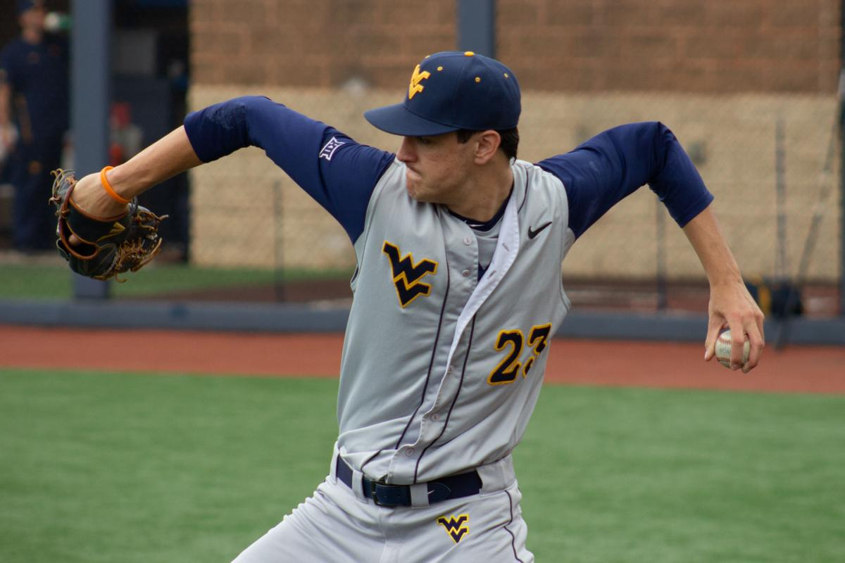 West Virginia's Jackson Wolf warms up prior to taking on Texas A&M on June 2, 2019.