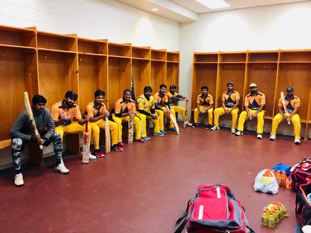The cricket club team in the locker room in Fort Lauderdale, Florida.