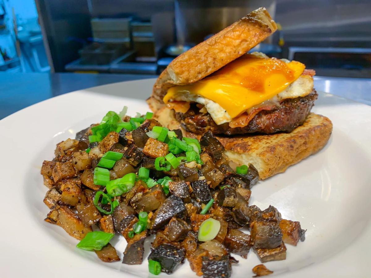 """""""Hangover burger,""""  a brunch special menu item."""