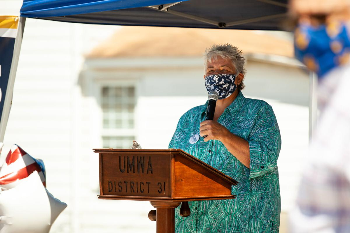 State Chair of the West Virginia Democratic Party Belinda Biafore speaks at the ribbon cutting ceremony for Democratic gubernatorial candidate Ben Salango campaign's field office in Morgantown on August 19, 2020 .