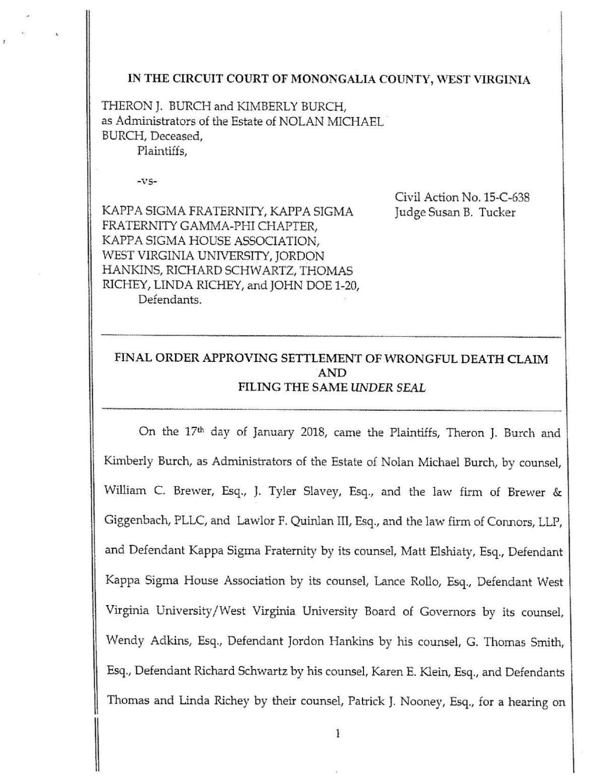 Burch Family Settlement Documents