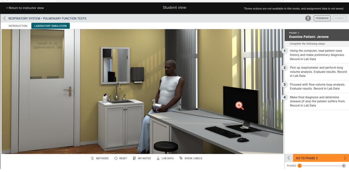 A virtual doctor's office is shown inside a WVU biology virtual lab program.