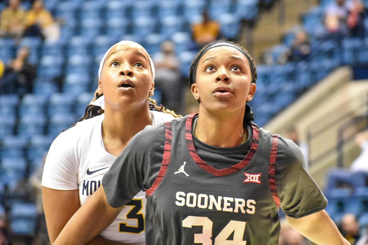 Jan. 15, 2020 - Freshman Guard Kirsten Deans (left) looks to grab the rebound while being defended against Oklahoma's Liz Scott.