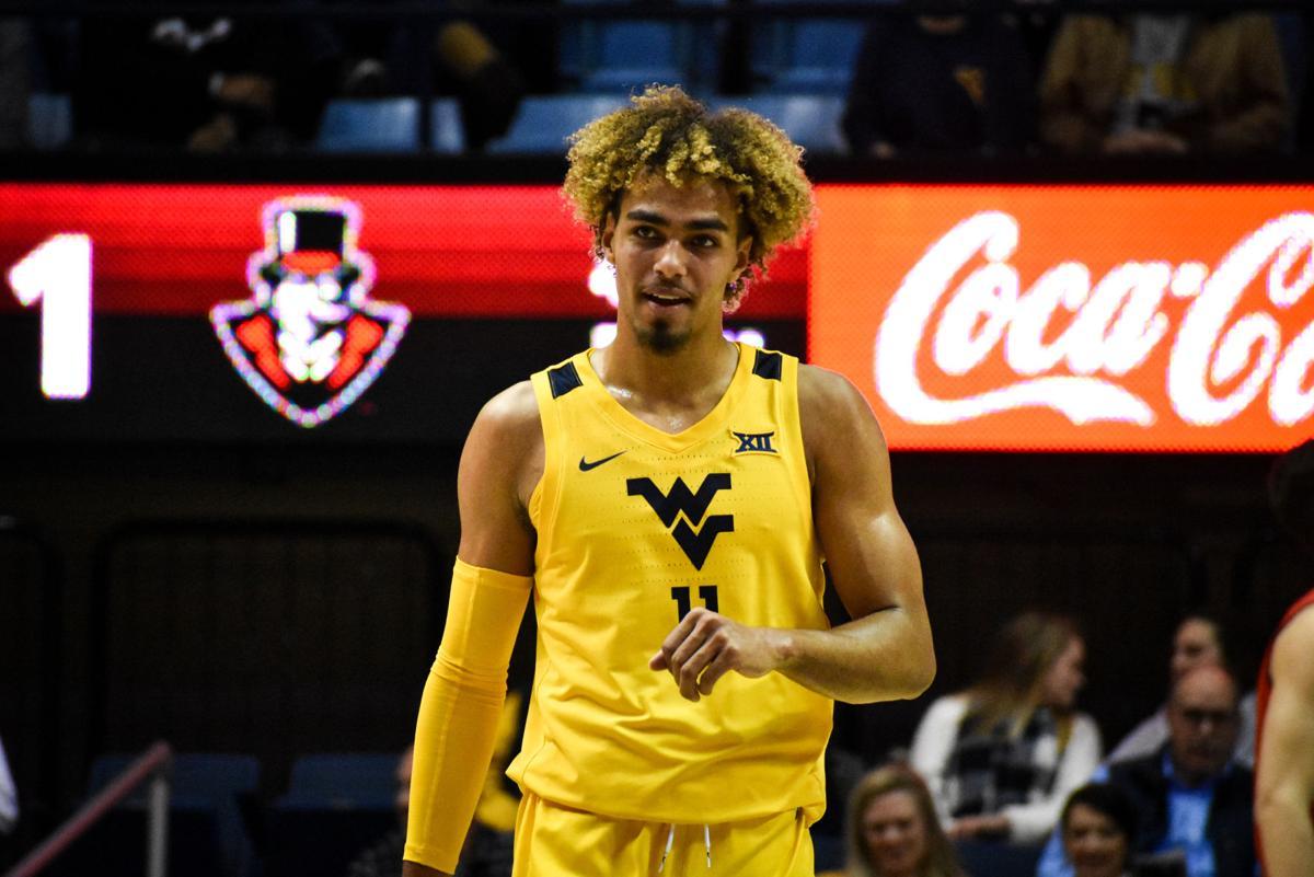 West Virginia forward Emmitt Matthews Jr. looks on against Austin Peay on Dec. 12, 2019 at the WVU Coliseum.