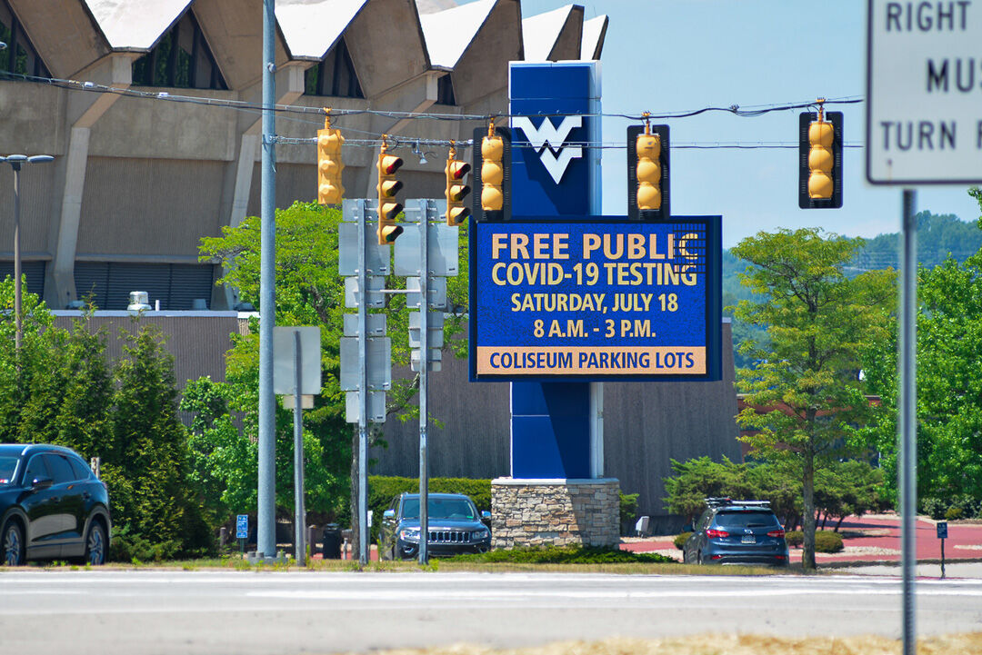 Jul. 18, 2020 - Free public COVID-19 testing is available at the WVU Coliseum parking lot in Morgantown