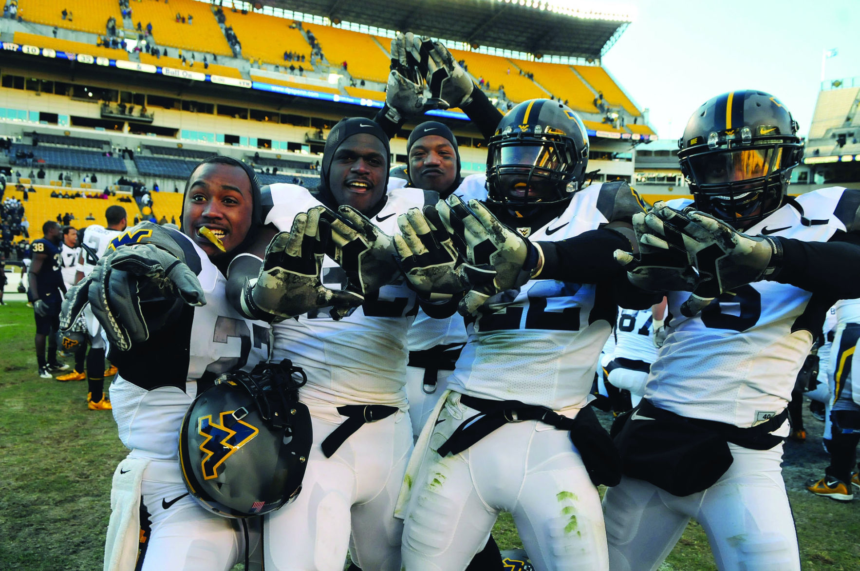 Mountaineers Celebrate After Defeating Pittsburgh Nov. 26, 2010 At The  Second To Last Backyard Brawl.